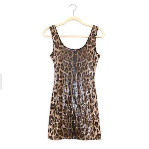 Leopard print sequined mini dress